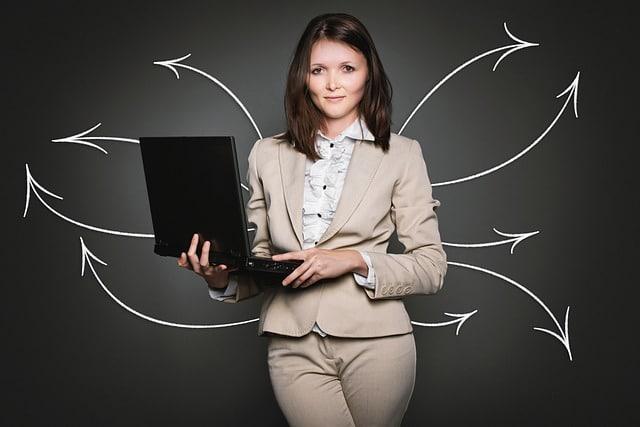 handelsbolag, affärskvinna, dator, företagare